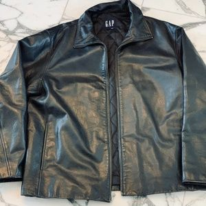 Men's Vintage Gap Quilted Leather Jacket Lg